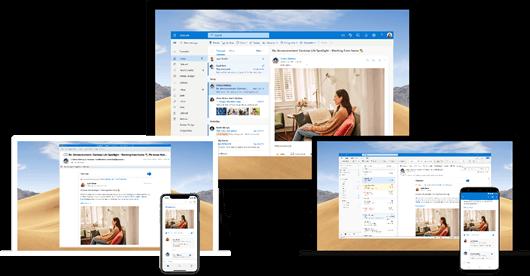 Integração do Yammer com o Outlook em várias plataformas