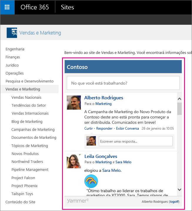 Um feed do grupo do Yammer inserida em uma página do SharePoint
