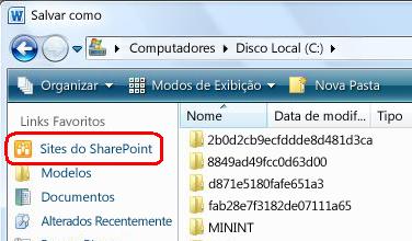 Link dos sites do SharePoint na caixa de diálogo Salvar como