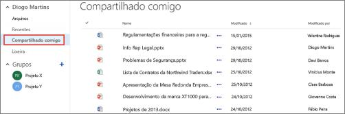Documentos que as pessoas compartilharam com você listados no modo de exibição Compartilhado Comigo no OneDrive for Business.