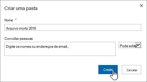 Caixa de diálogo de compartilhamento de SharePoint 2016 nova pasta