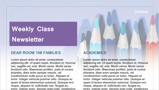 Imagem de um modelo de boletim informativo de classe