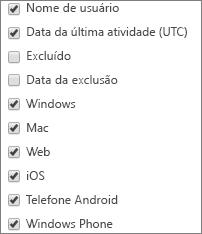 Relatório de uso do aplicativo Microsoft Teams – escolher colunas
