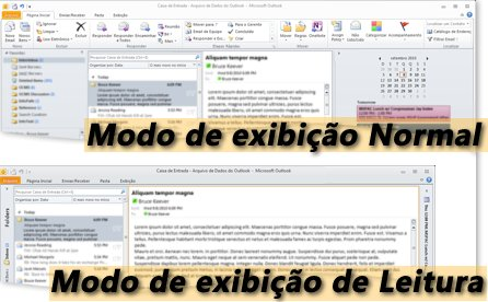 Exemplo do Outlook nos modos de exibição Leitura e Normal