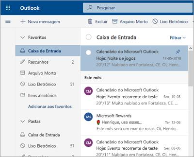 Uma captura de tela da caixa de entrada com a Caixa de Entrada Destaques desativada