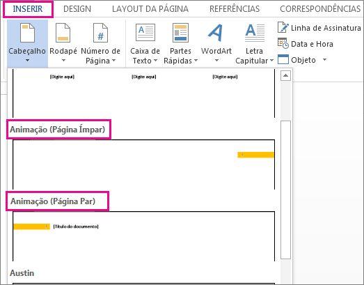 layouts de cabeçalho de páginas pares e ímpares