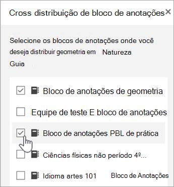 Janela para seleção de distribuição entre blocos de anotações cruzados