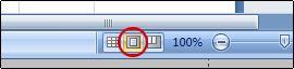 Botão Layout de Página na barra de status