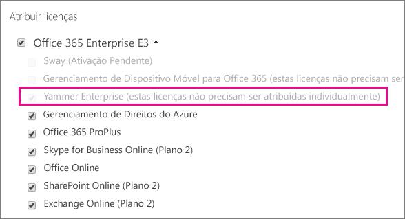 Captura de tela da seção Atribuir licenças do centro de administração do Office 365, com a licença do Yammer Enterprise selecionada.