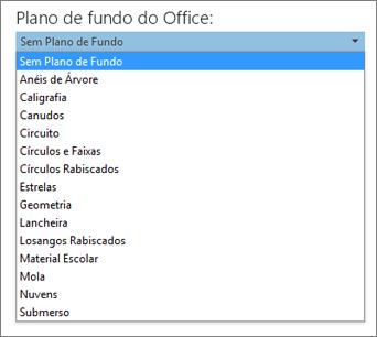Lista de planos de fundo do Office em programas do Office 2013