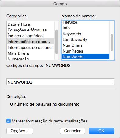 Caixa de diálogo Campo com as opções Informações do Documento e NumWords selecionadas.
