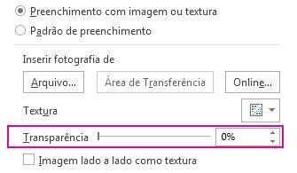 Slide da Transparência no painel Formatar Imagem
