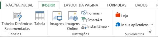 Captura de tela de uma seção da guia Inserir na faixa de opções do Excel com um cursor apontando para meus aplicativos. Selecione meus aplicativos para acessar os aplicativos do Excel.