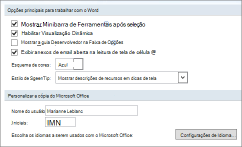 Opções populares do Word 2007