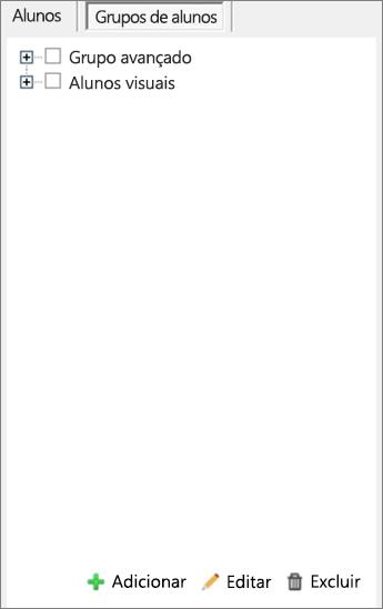 Painel Distribuir Página com a opção Grupos de Alunos selecionada. Ferramentas para adicionar, editar e excluir grupos de alunos.