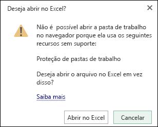 Caixa de diálogo ao abrir uma pasta de trabalho protegida por senha no Excel para a Web