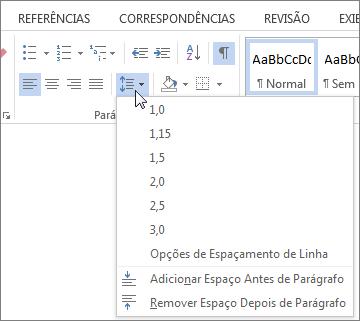 Captura de tela da guia Página Inicial no Word, mostrando o menu Espaçamento entre Linhas e Parágrafos.