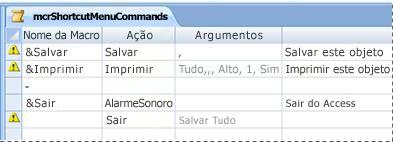 Um grupo de macros de menu no modo Design