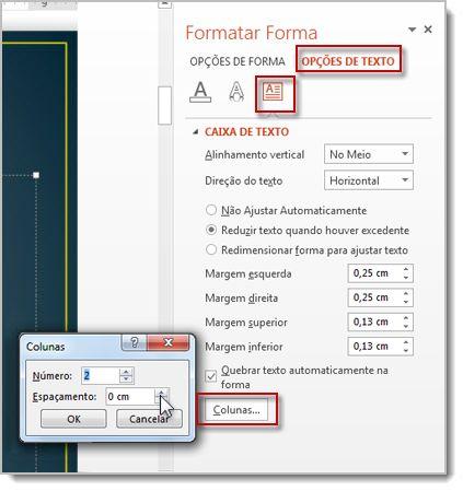 Transformar texto em colunas