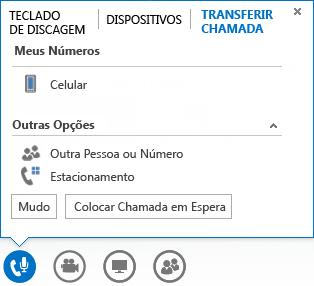 Captura de tela do menu transferir chamada