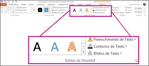 comando estilos de wordart na faixa de opções