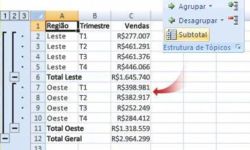 O comando Subtotal agrupa dados em uma estrutura de tópicos