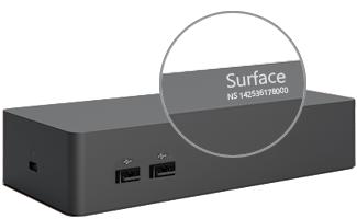 Número de série no Dock Surface