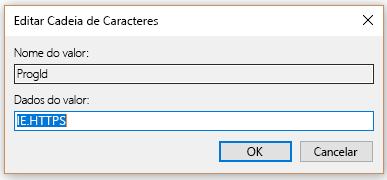 Selecione o valor HTTPS fro em Editar cadeia de caracteres