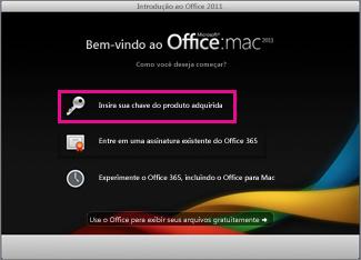 Tela de ativação do Office para Mac