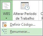 Imagem da guia Projeto, botão EDT, comando Renumerar no menu suspenso.