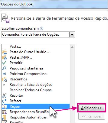 Selecione o ícone Régua para adicionar à barra de ferramentas de Acesso Rápido