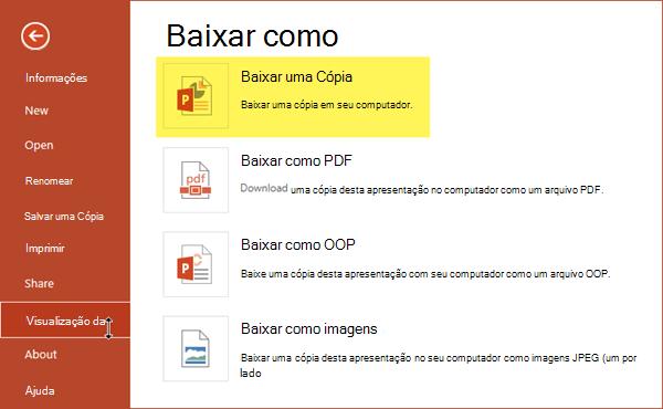 Use baixar uma cópia para salvar a apresentação em seu computador