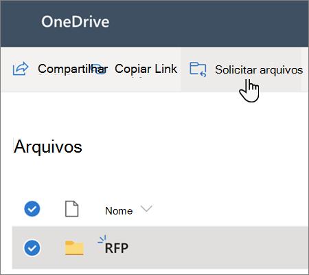 A opção de menu solicitar arquivos no OneDrive for Business