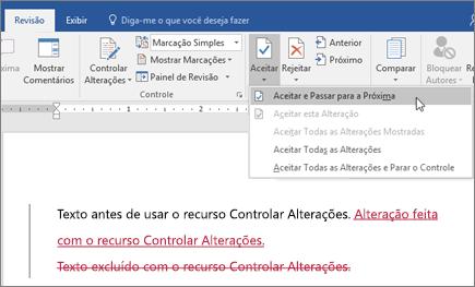 Controlar Alterações do Word do Office 365