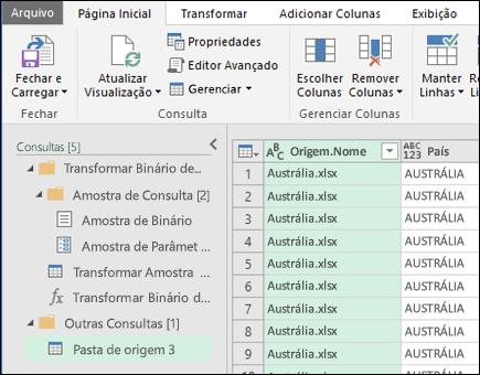 Combine a caixa de diálogo Visualização de binários. Pressione fechar e carregar para aceitar os resultados e importá-los para o Excel.