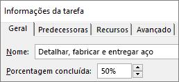 Captura de tela da caixa de diálogo Detalhes da Tarefa mostrando a porcentagem concluída