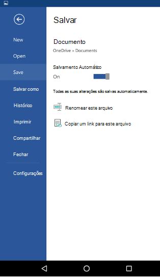 Captura de tela da opção de salvamento automático em um telefone Android
