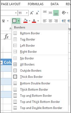 As opções de bordas
