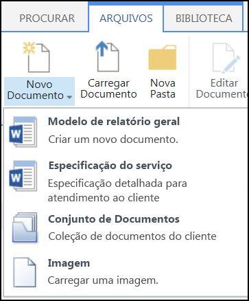 Menu Novo Documento com tipos de conteúdo personalizado no SharePoint