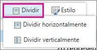 Dividir vertical ou horizontalmente