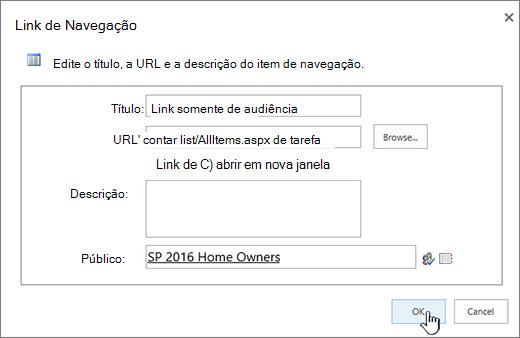 Propriedades de link de navegação com OK realçado.