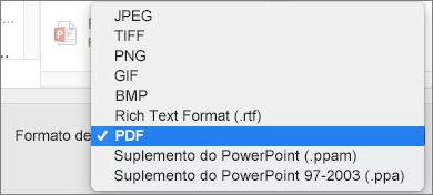 PowerPoint 2016 para Mac Exportar PDF