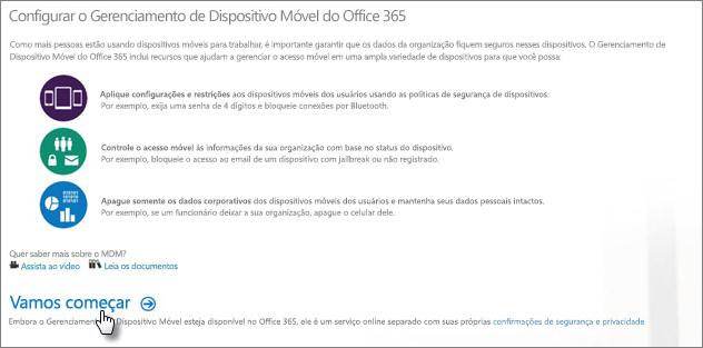 Configurar o Gerenciamento de Dispositivos Móveis do Office 365