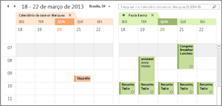 Google Calendar importado lado a lado no Outlook