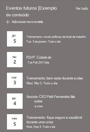 A Web Part de eventos com listagem de eventos e datas.