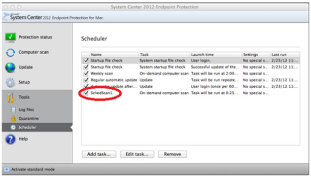 Lista de tarefas agendadas no Scheduler
