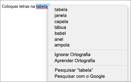 Erro de ortografia com menu mostrando opções para corrigi-lo