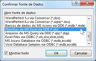 Caixa de diálogo Confirmar Fonte de Dados
