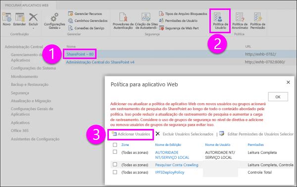 Política de caixa de diálogo de aplicativo Web