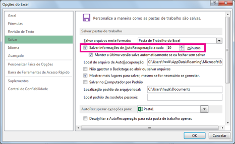 Opção AutoRecuperação na guia Salvar na caixa de diálogo Opções do Excel